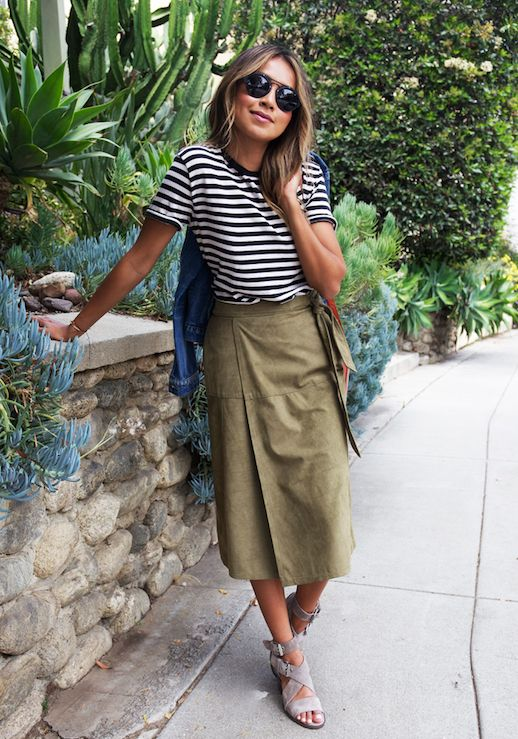 Striped Top and Khaki Skirt via