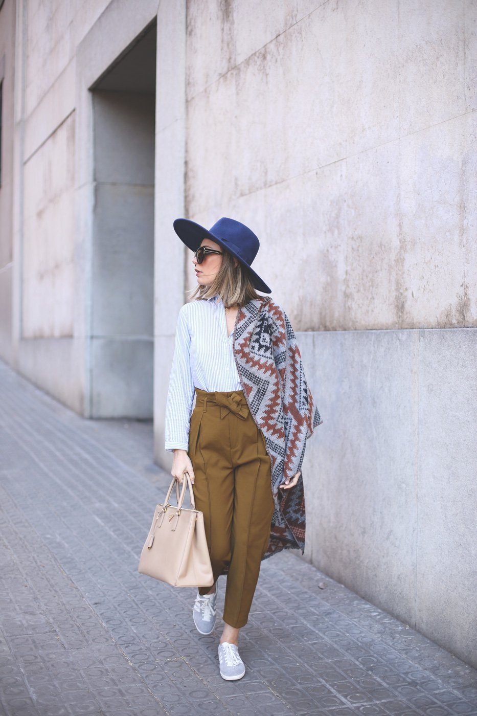 striped-top-and-mustard-pants via