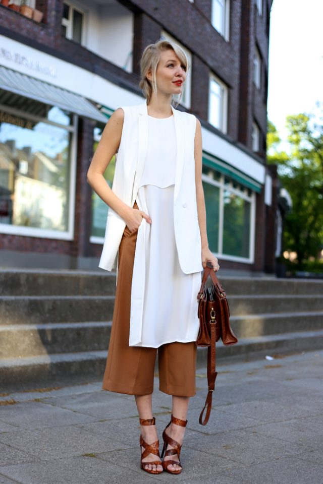 white-sleeveless-top-and-mustard-pants via