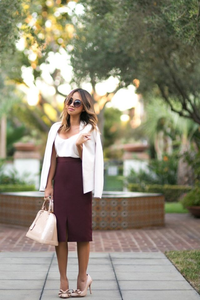 white-top-and-burgundy-pencil-skirt via