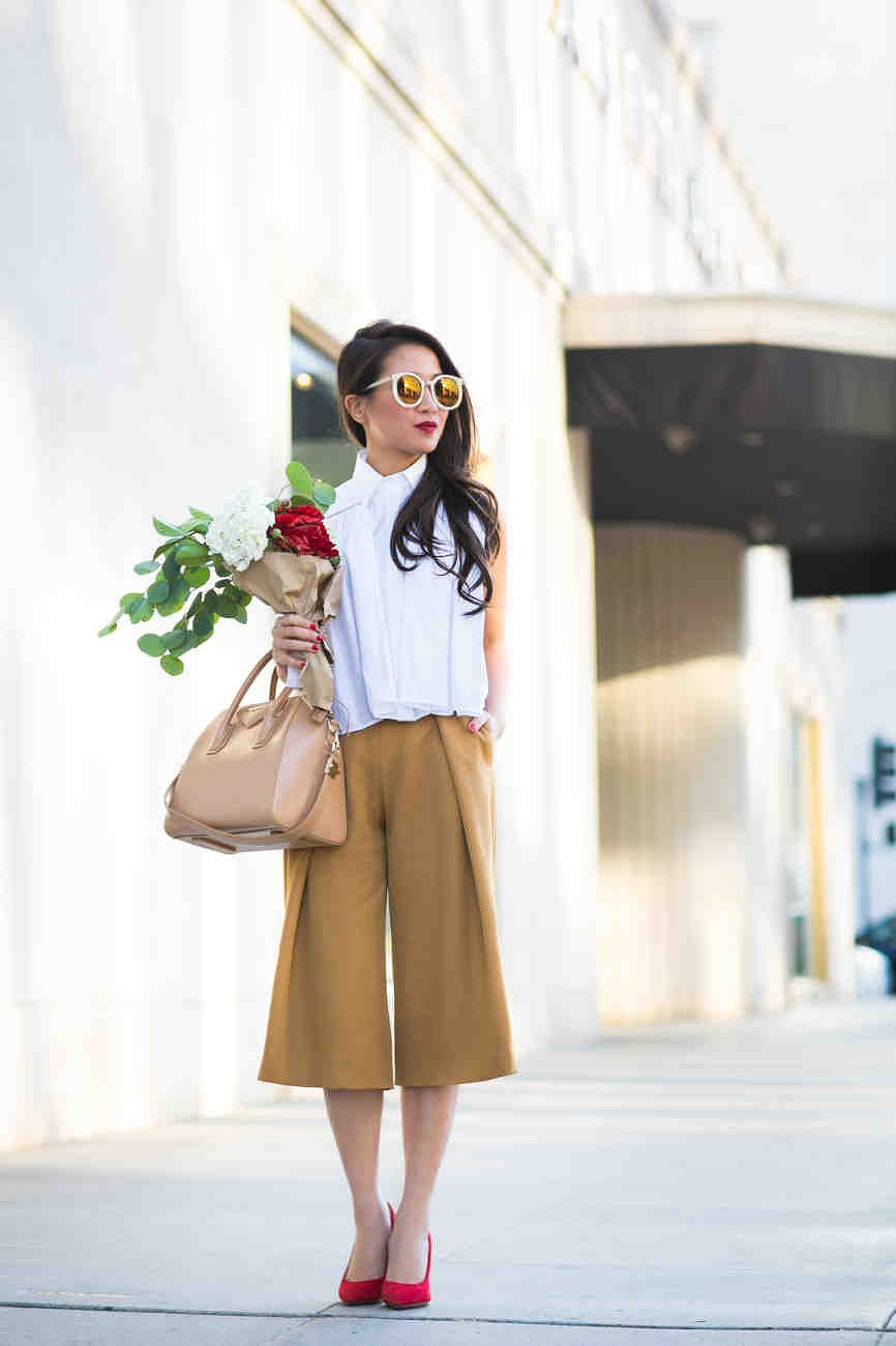 white-top-and-mustard-pants via