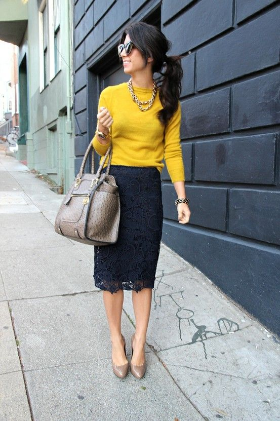 yellow-top-and-lace-pencil-skirt via