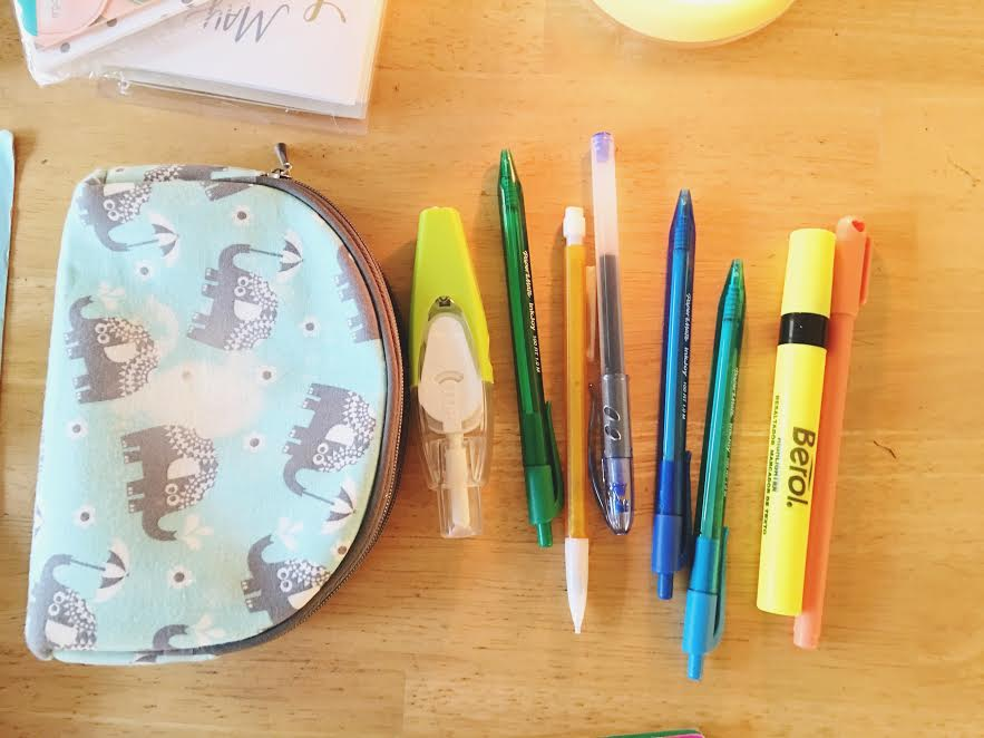 Pouch, Pens, Pencils And Highlighters