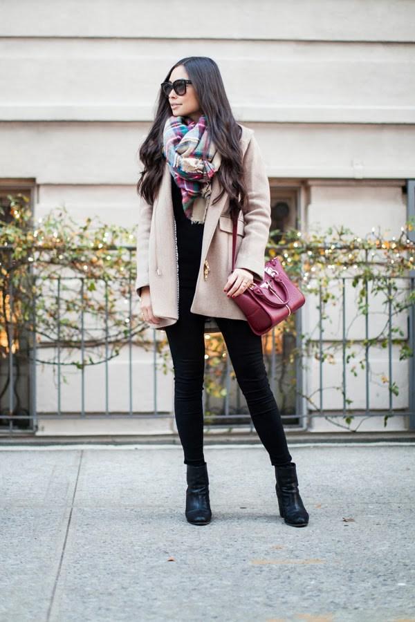 beige-coat-and-tartan-scarf via