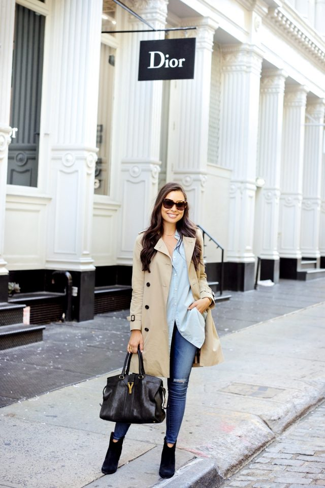 beige-trench-coat-blue-shirt-and-ripped-jeans via