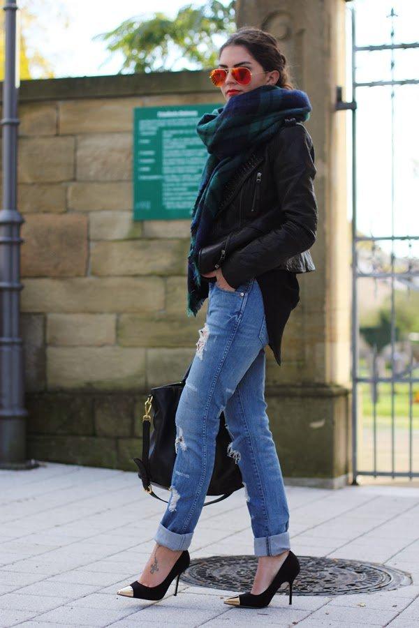 black-jacket-and-tartan-scarf via