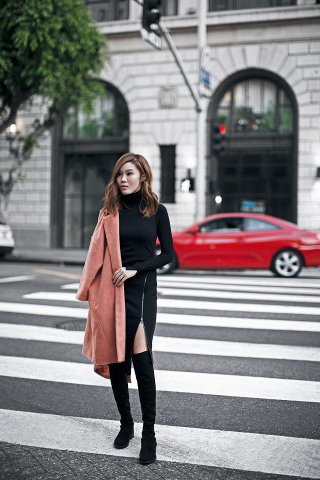 black-turtleneck-dress-and-pink-coat via