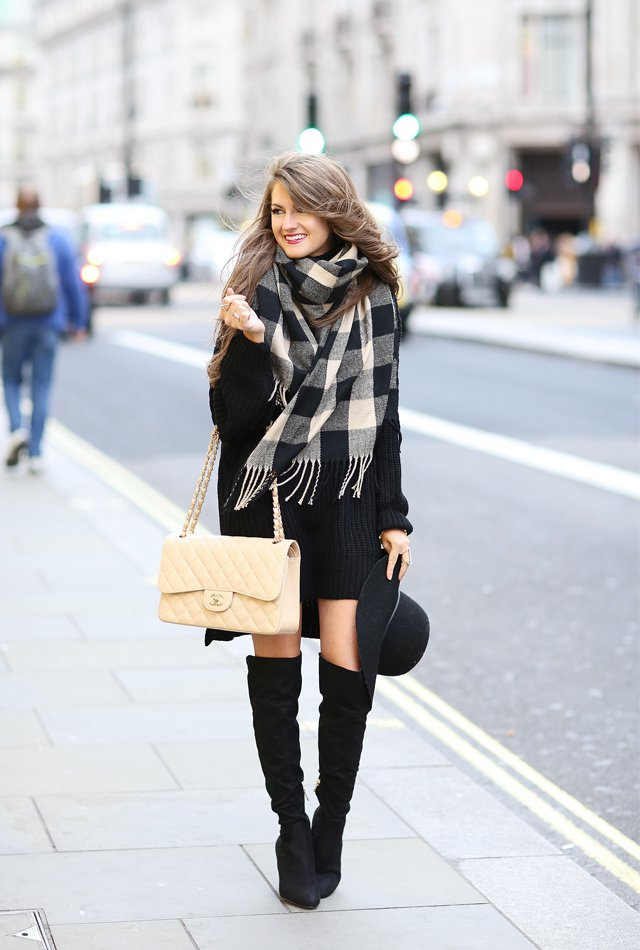black-turtleneck-dress-and-plaid-scarf via