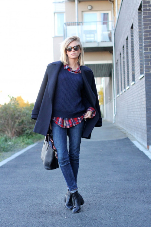 blue-coat-blue-jumper-blue-jeans-and-tartan-shirt via