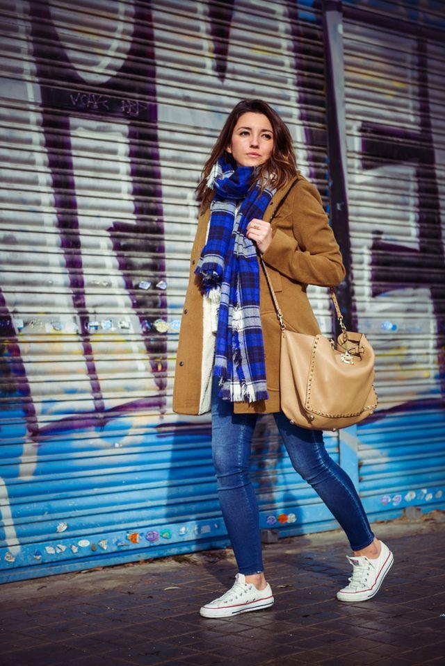 blue-tartan-scarf-and-camel-blazer via