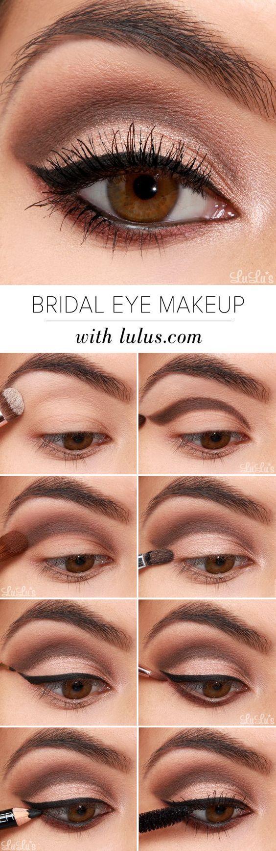 12 Easy Step by Step Bridal Eye Makeup Tutorials - Pretty Designs