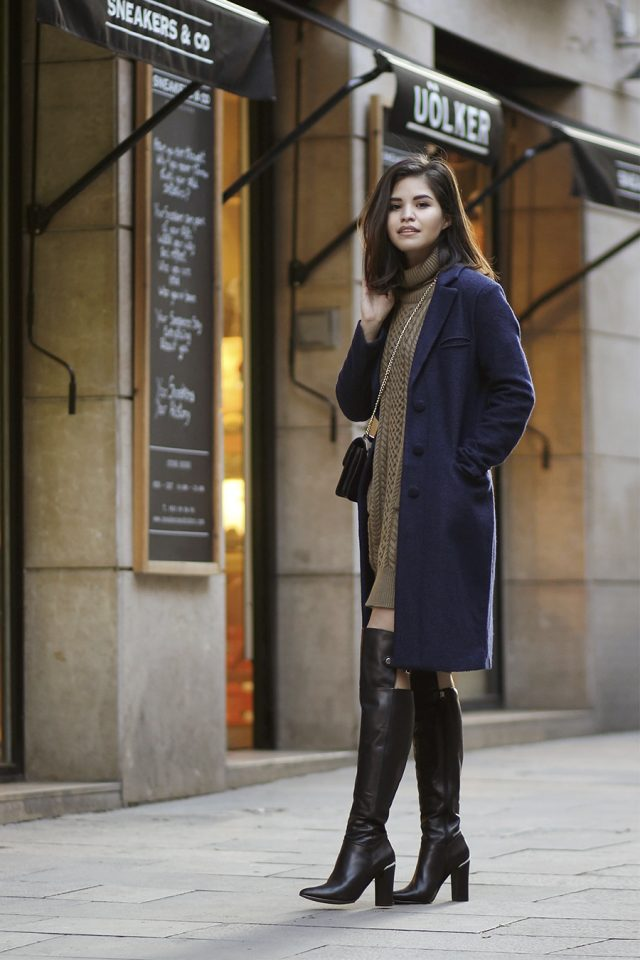 brown-turtleneck-dress-and-deep-blue-coat via