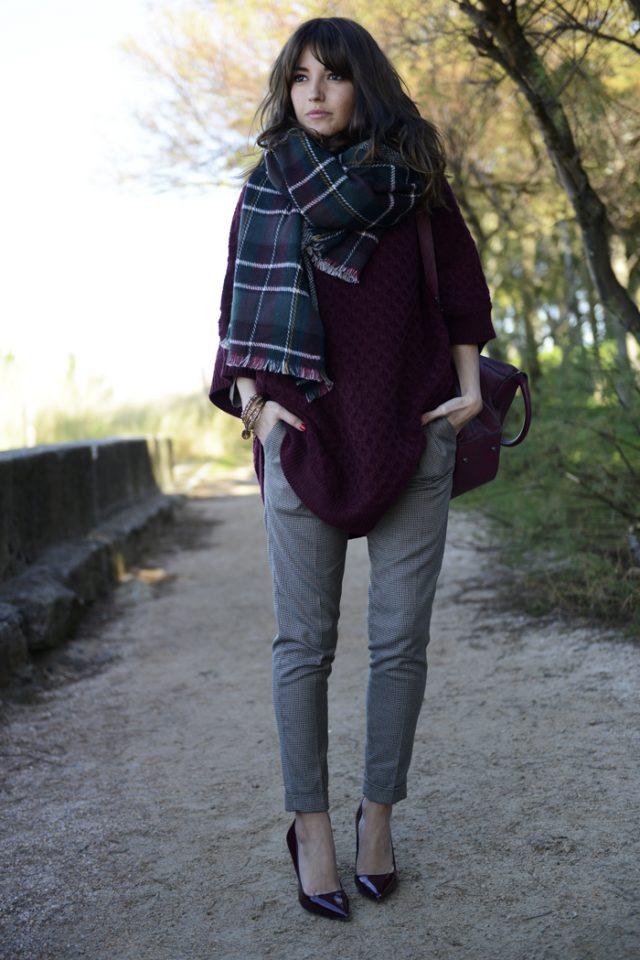 burgundy-sweater-and-tartan-scarf via