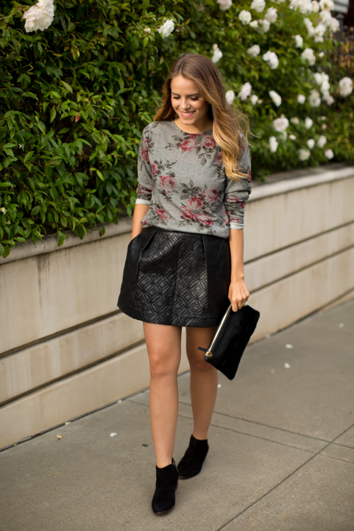 deep-floral-top-and-leather-skirt via