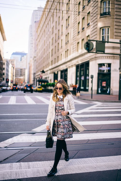 floral-dress-and-beige-trench-coat via