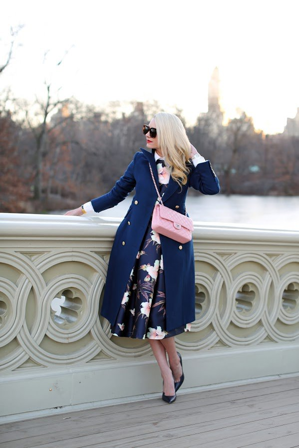 floral-dress-and-blue-trench via