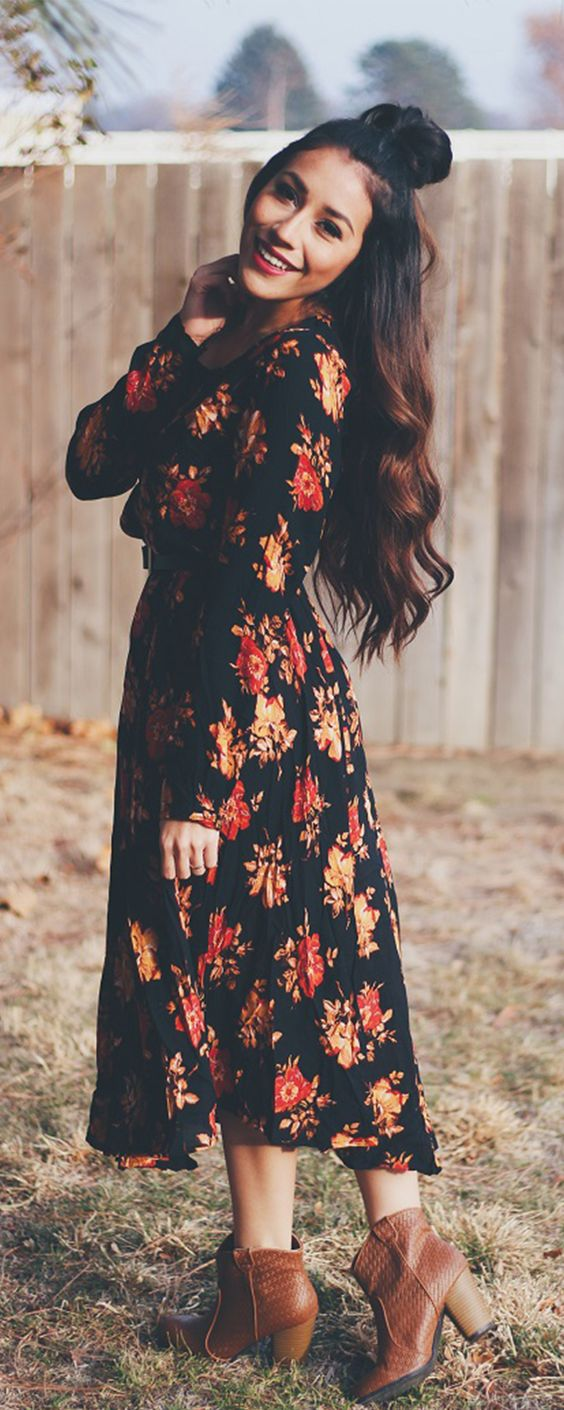floral-dress-and-boots via