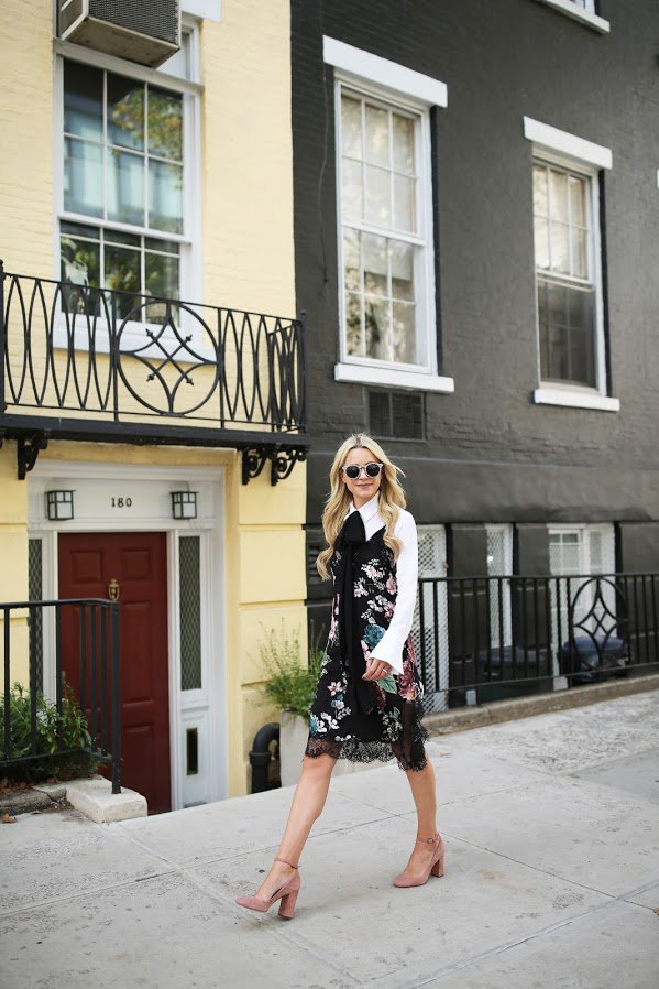floral-dress-and-nude-heels via