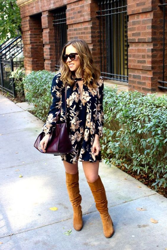 floral-dress-and-knee-high-boots via