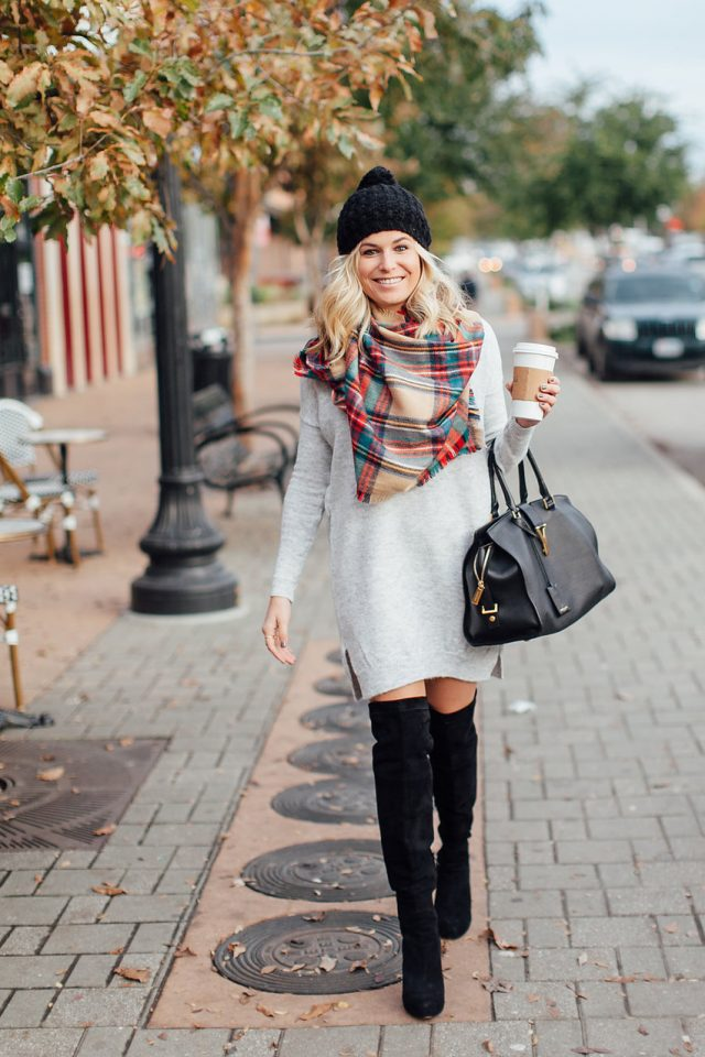 grey-dress-and-bright-tartan-scarf via