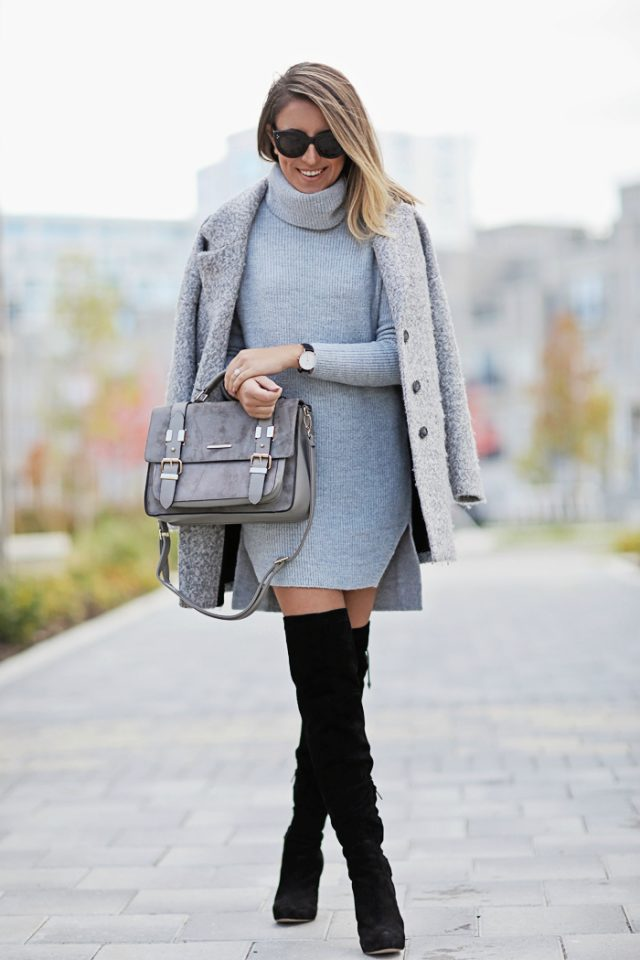 grey-outfit-and-knee-high-boots via