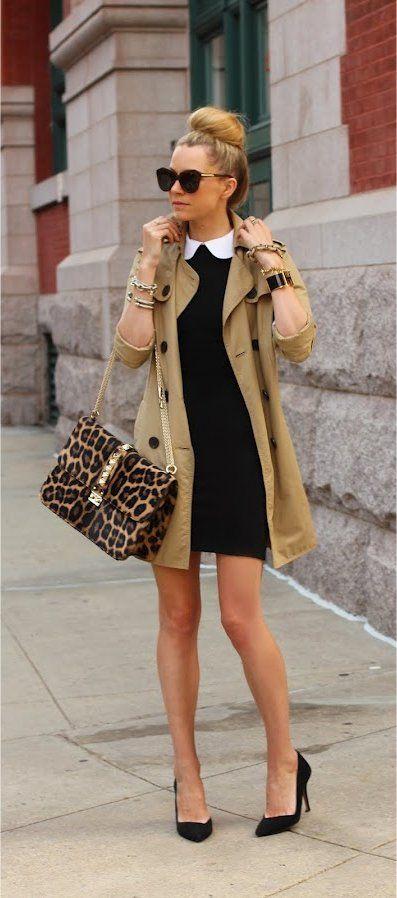 khaki-blazer-black-dress-and-leopard-handbag via