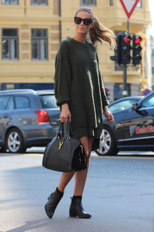 khaki-sweater-dress via