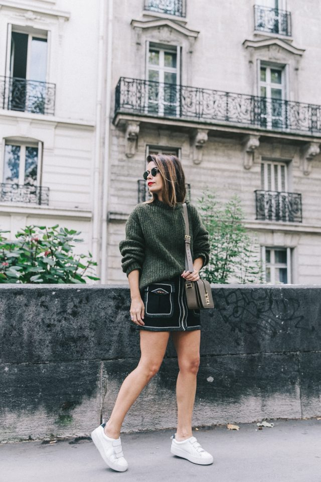 khaki-sweater-pencil-skirt-and-white-sneakers via