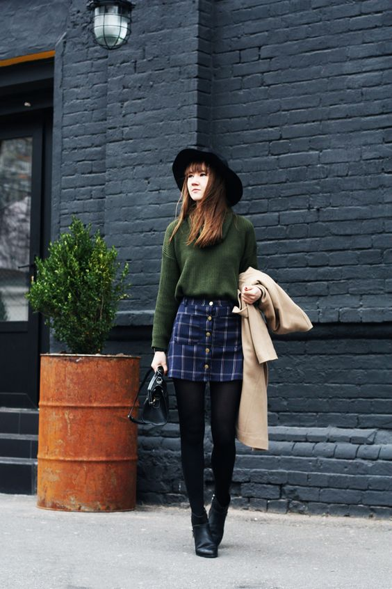 khaki-sweater-and-button-up-skirt via