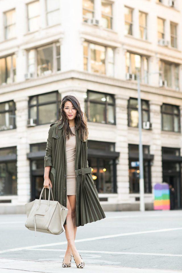 khaki-trench-coat-nude-dress-and-leopard-heels via