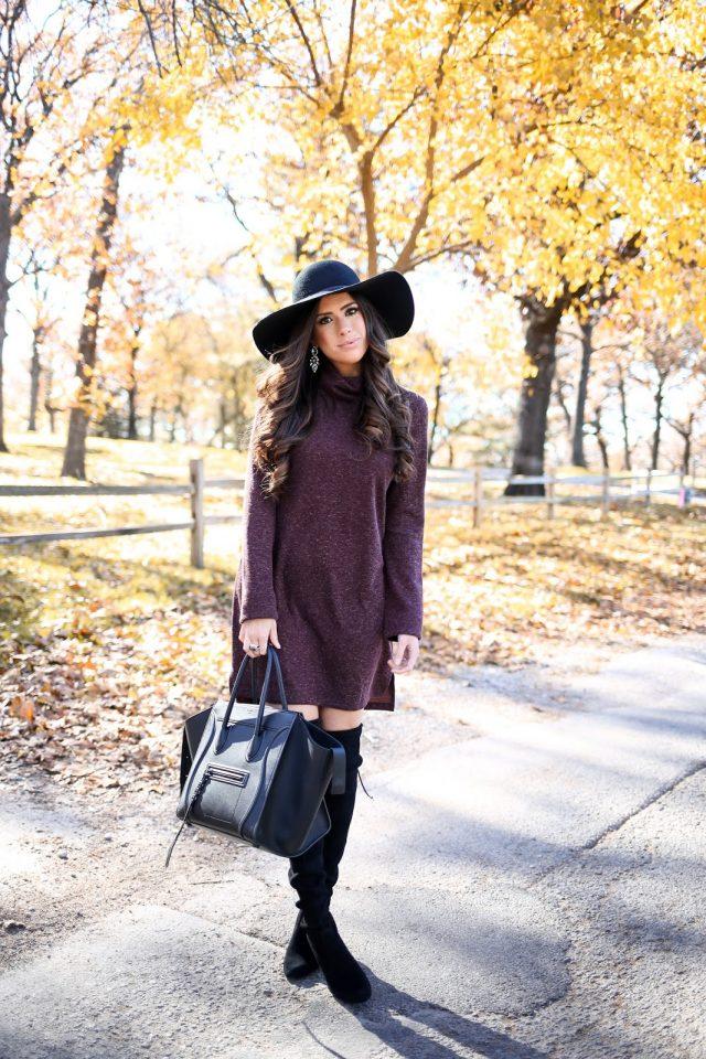 lavender-turtleneck-dress via