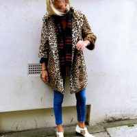leopard-coat-blue-jeans-and-plaid-scarf via