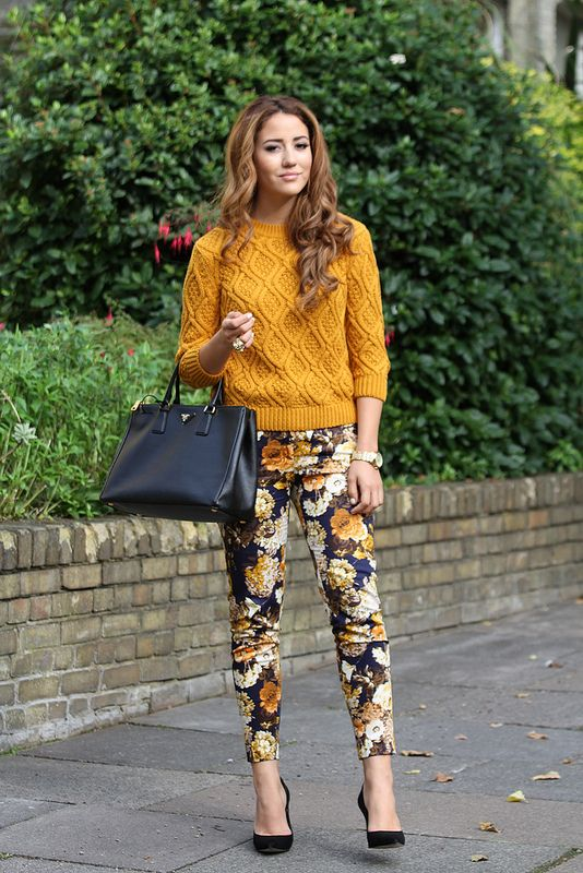 mustard-sweater-and-floral-pants via