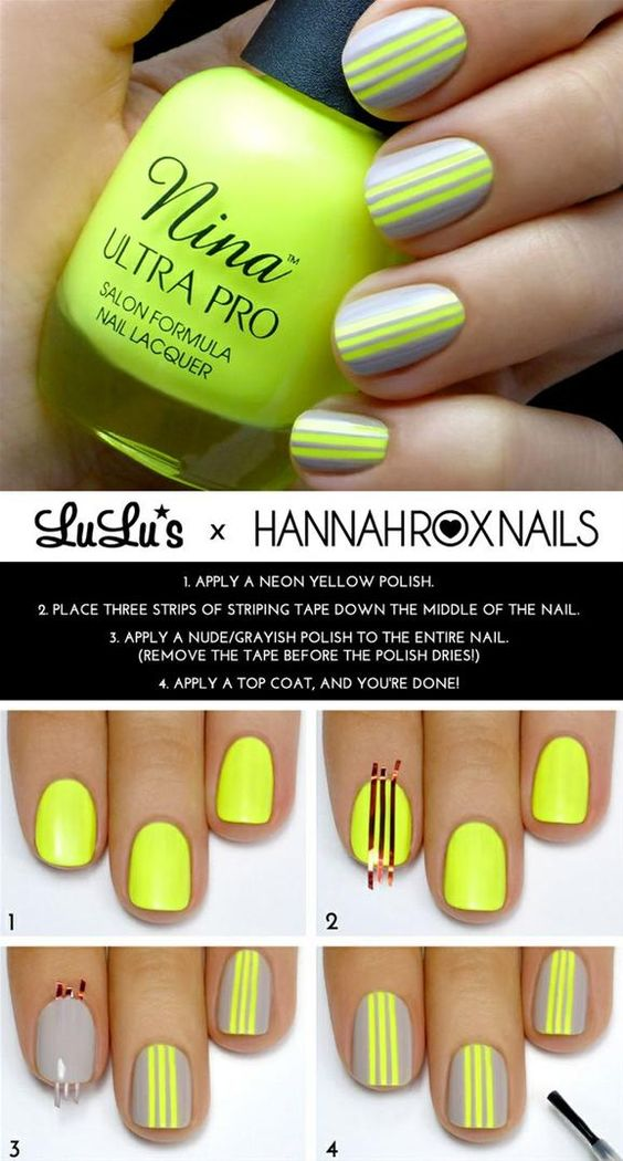 neon-yellow-and-grey-nails via