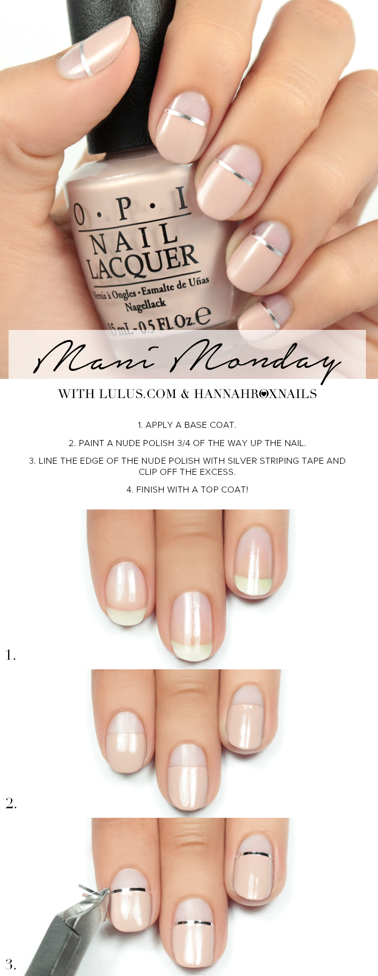 nude-nails-with-sliver-lines via