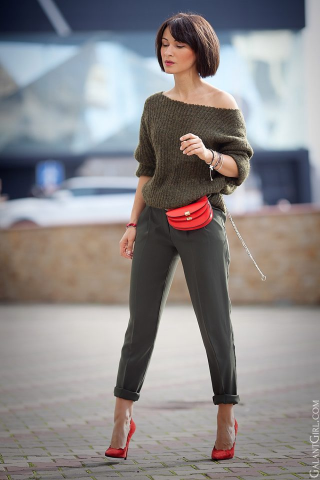 off-shoulder-khaki-sweater-crop-pants-and-red-shoes via