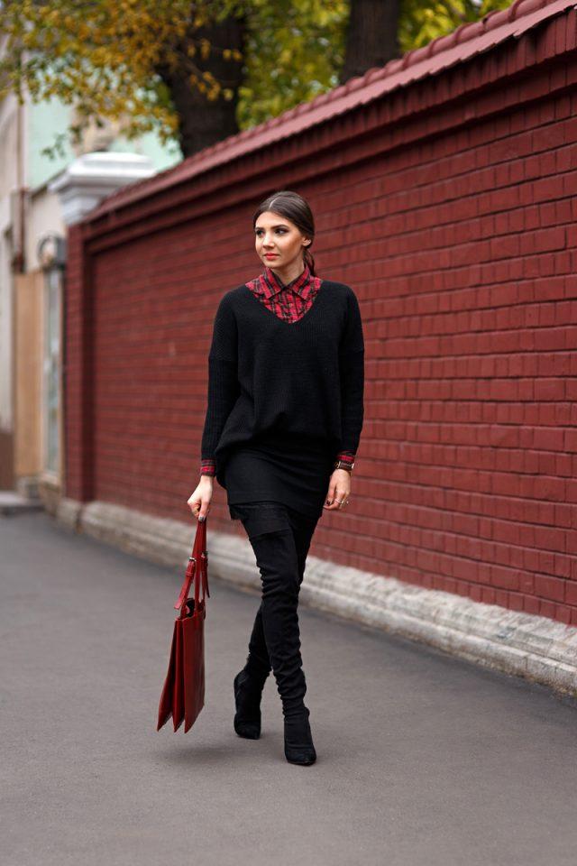 oversized-sweater-and-tartan-shirt via