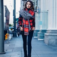 plaid-top-and-plaid-scarf via