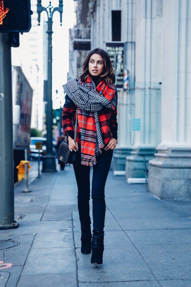 plaid-top-and-plaid-scarf via
