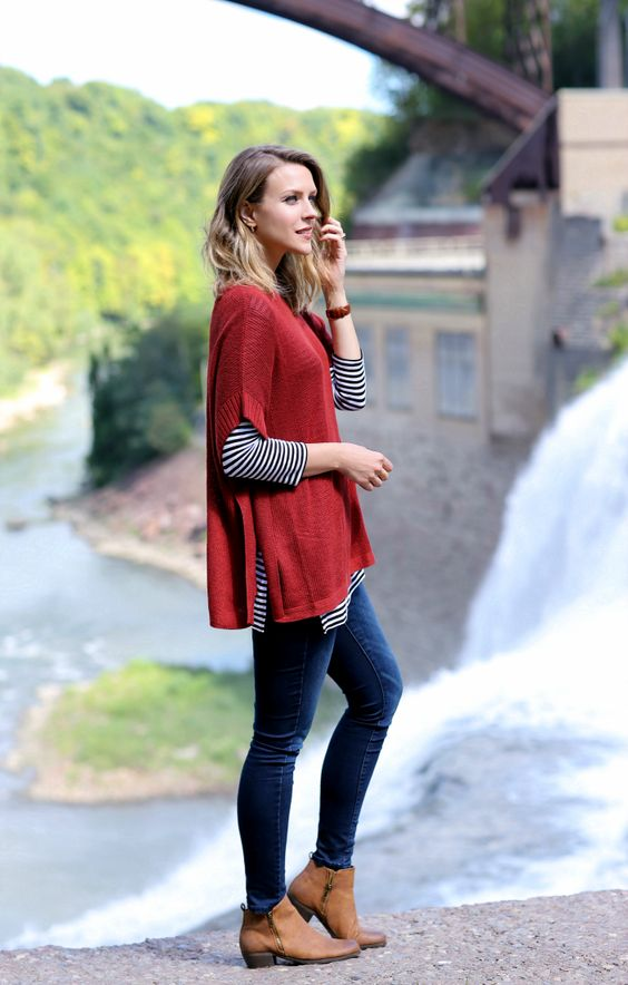 red-sweater-striped-t-shirt-and-jeans via