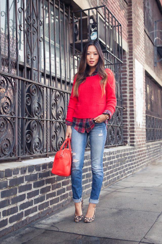 red-sweater-tartan-shirt-and-crop-jeans via