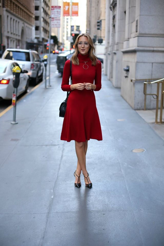 red-turtleneck-dress-and-t-strap-heels via