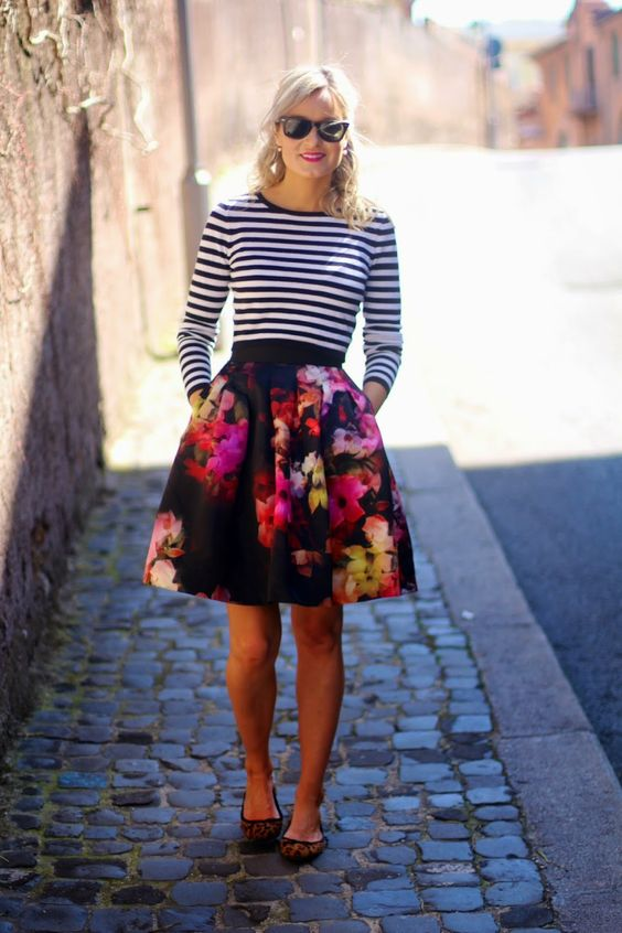 striped-top-and-floral-skirt via