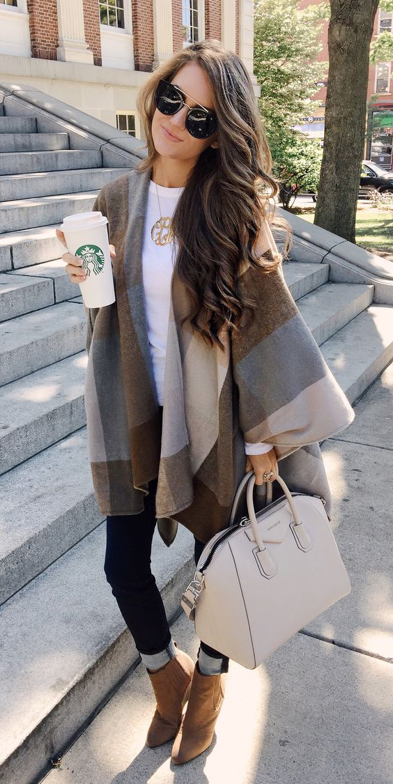 tartan-poncho-rolled-jeans-and-booties via