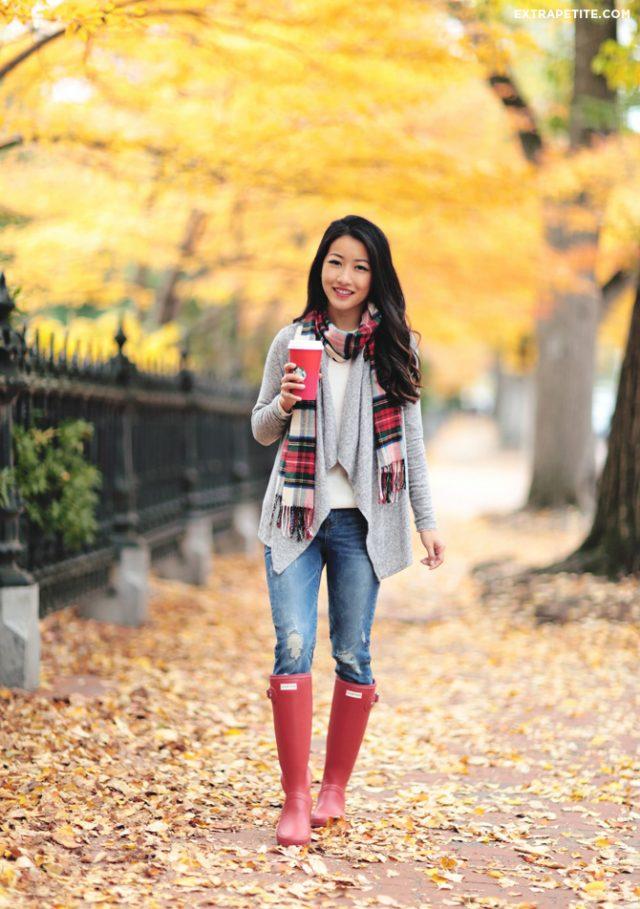 tartan-scarf-cardigan-and-jeans via