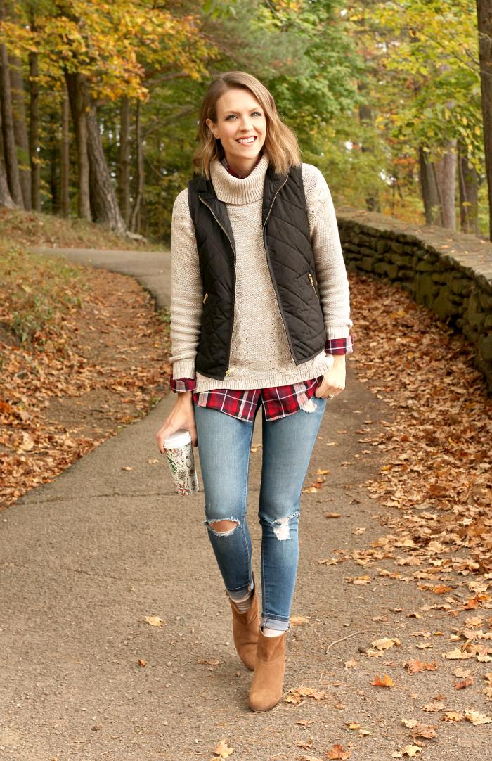 vest-jacket-turtleneck-tartan-shirt-and-ripped-jeans via