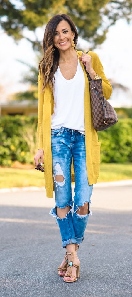 yellow-cardigan-white-t-shirt-and-ripped-jeans via