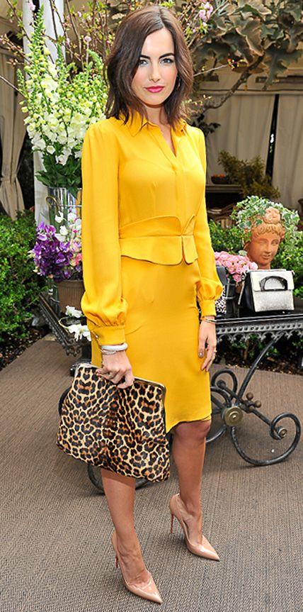 yellow-dress-and-leopard-handbag via