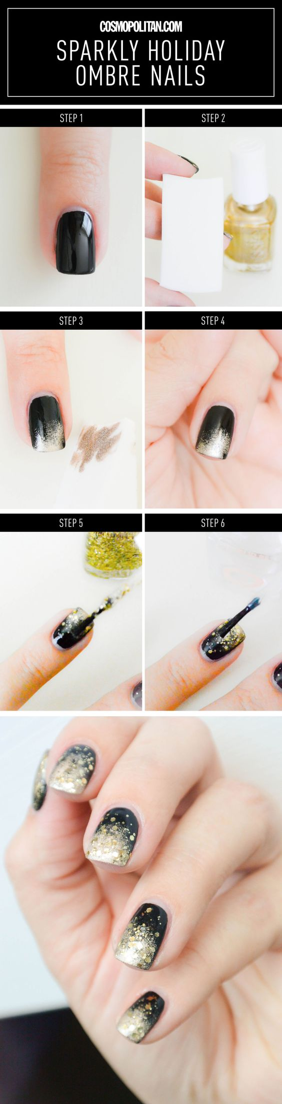 black-nails-with-glitter via