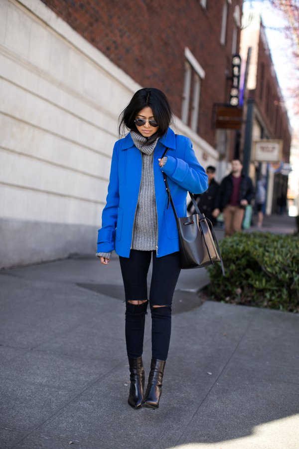 blue-jacket-grey-turtleneck-and-ripped-jeans via